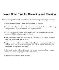 Seven Great Tips for Recycling and Reusing